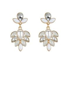 These White Gem Stone Chandelier Earrings will add sparkle to a cocktail dress, or even a wedding gown. #newlook #jewellery