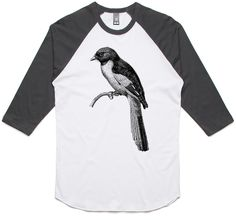 theIndie Bird on a Branch (Black) 3/4-Sleeve Raglan Baseball T-Shirt