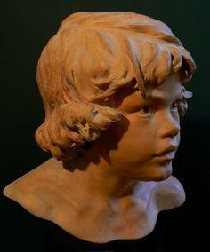 """""""Visage d'enfant"""" - oeuvre en terre cuite du sculpteur Guy Le perse…"""