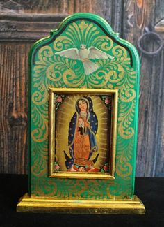 Hand Made & Painted Wood Niche Virgin of Guadalupe, Michoacán Mexico, Folk Art