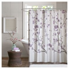 Madison Park Holly Cotton Shower Curtain in Purple - Olliix a modern touch on your decor with the Madison Park Holly Collection. This cotton shower curtain features an allover cherry blossom design with branches. The soft grey bac Elegant Shower Curtains, Fabric Shower Curtains, Bathroom Curtains, Cortina Box, Purple Bathrooms, Lavender Bathroom, Lavender Shower Curtain, Color Lila, Beautiful Curtains