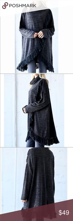 CALLIE - Midnight Frey Poncho MED Brand new with tags - Boutique item.  Warm and stylish, two tone, black and grey warm slub knit sweater with turtleneck and frayed Hemline. Size medium. Would fit a medium or large comfortably.   Posh rules only No PP No lowballs  Price firm unless bundled.  I'm a suggested user and party host, posh ambassador, posh mentor, and I'm five star rated so buy with confidence!  H A P P Y  P O S H I N G  🖤🖤🖤🖤🖤🖤🖤🖤🖤🖤🖤🖤🖤 Kady's Kloset Sweaters Shrugs…