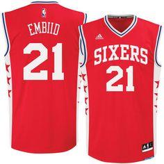 6b22131828f Men s Philadelphia 76ers Joel Embiid adidas Red Alternate Replica Jersey  Maillot De Basket