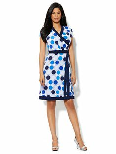 Faux-Wrap Belted Dress - Dot Print - New York & Company