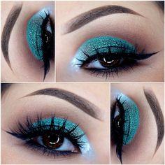 Jade green eyeshadow look