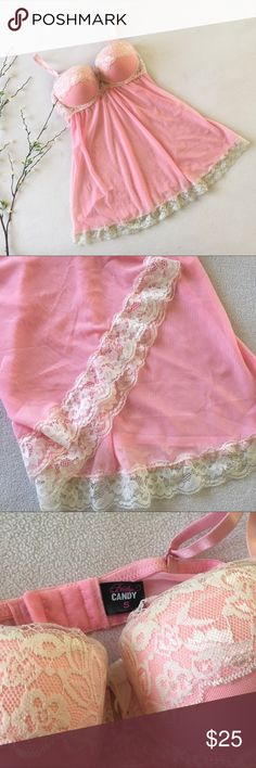 "NWOT Babydoll Lingerie Pretty in pink! • great condition, no signs of wear, new without tags • laying flat: 21"" length • convertible straps, make criss-cross or strapless Body Candy Intimates & Sleepwear"