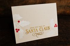 witticisms: Santa Stationery, white embossing on rustic cream cardstock
