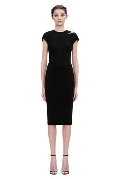 cap sleeve embroidery fitted A hand-embroidered cap sleeve dress in a classic black matt-crepe material, from the Pre Spring Summer 15 Ready-to-Wear collection