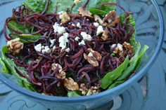 Crispy, curly roasted beets with creamy gogonzola and sweet pecans make the perfect filling salad. Serve with your favorite protein and make it a meal!