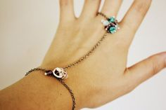 Seashell, Turquoise, and Violet Chain Bracelet with Ring -- vintage, crystals, gemstones