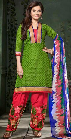 USD 25.36 Green Cotton Embroidery Salwar Kameez 44538