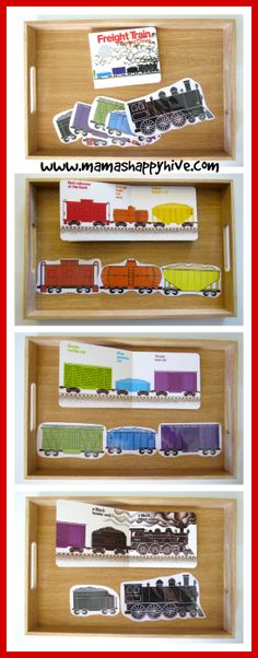 Train Preschool Activities, Transportation Activities, Preschool Literacy, Preschool Crafts, Preschool Ideas, Toddler Classroom, Montessori Toddler, Train Crafts, Preschool Colors
