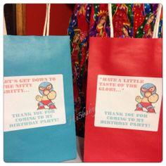 Nacho libre goody bags. Nacho libre party. Lucha libre party