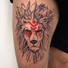 Simple old school style thigh tattoo of lion portrait with mystic symbols Sweet Tattoos, All Tattoos, Body Art Tattoos, Tattoos For Guys, Tattos, Tiger Tattoo, Future Tattoos, Animal Tattoos, Skin Art