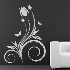 Butterflies Flowers Wall Sticker http://walliv.com/butterflies-flowers-wall-decal