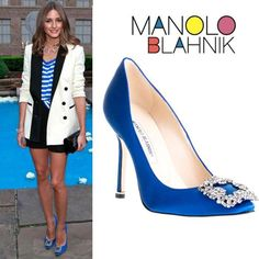 Olivia Palermo in Manolo Blahnik blue satin Hangisi pumps [CELE03609] - $217.00 : Discounted Christian Louboutin,Jimmy Choo,Valentino Shoes Online store #manoloblahnikhangisi