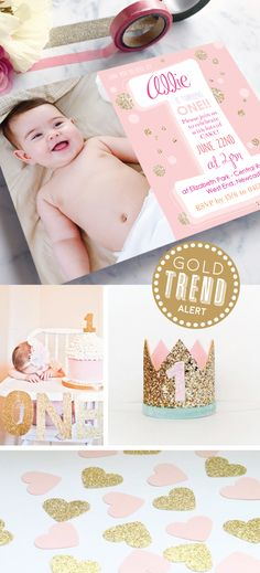 These beautiful 1st birthday  invitations with a photo are from only $1.25 each! The gold glitter and blush tones are very on-trend for kid's birthday parties! Paper Divas, 1st Birthday Invitations, Gold Party, Invitation Design, Gold Glitter, Birthday Parties, Stationery, Blush, Kids