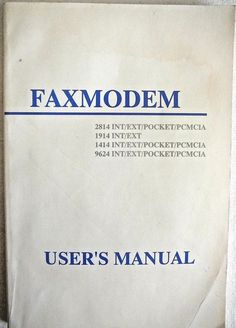Vintage Tech Faxmodem User's Manual PCMCIA Type 2 Commands Configuration Phone