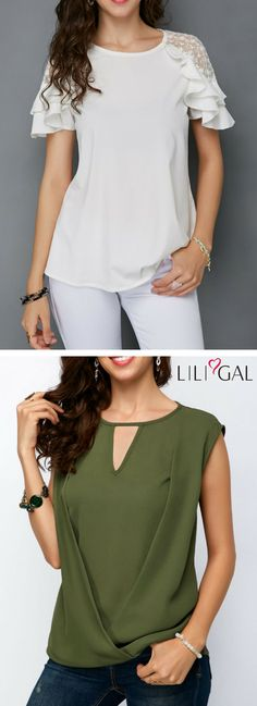 Round Neck White Keyhole Back Mesh Panel Blouse/ Cap Sleeve Keyhole Neckline Army Green Blouse #liligal #top #blouse #shirts #tshirt