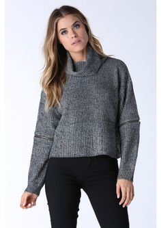 Street Love Slouchy Turtleneck Top in Grey | Necessary Clothing