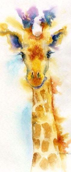 Giraffe drawing done using watercolours