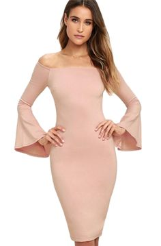 a4c5a4f9e54b Flare Sleeve Sheath Bodycon Dress Dresses Length: Knee-Length Sleeve  Length(cm)