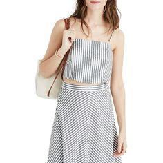Women's Madewell Stripe Crop Tank (40 CAD) ❤ liked on Polyvore featuring tops, true black, stripe top, retro tops, striped tank, striped top and stripe tank