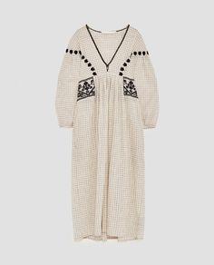 Zara, Robes Midi, Shirt Embroidery, Fall Winter Outfits, Dresses For Sale, Ideias Fashion, Dress Up, Short Sleeve Dresses, Boho