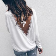 Cheap casual clothing, Buy Quality femme casual directly from China ladies blouses Suppliers: Women Autumn White Tops 2017 Chic Backless Tops Long Sleeve Ladies Blouse Blusas Chemise Femme Casual Clothing Stylish Outfits, Fashion Outfits, Womens Fashion, Fashion Top, Ladies Fashion, Style Fashion, White Tops, Beautiful Outfits, Blouses For Women