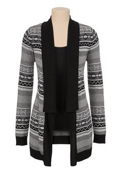 Ethnic print contrast trim cardiwrap (original price, $39) available at #Maurices