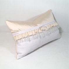 SALE - Decorative Pillow Cover - Cream White Cushion -  Ruffle Victorian - Ruffled Ivory Silk - Cottage Shabby Chic 12 X 18 inch. $33.00, via Etsy.