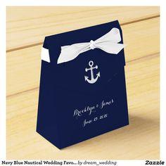 Navy Blue Nautical Wedding Favor Boxes With Anchor