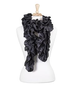 Look at this Black Ruffle Scarf on #zulily today!