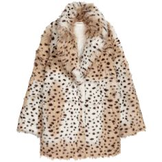 Faux Fur Jacket $119 (€100) ❤ liked on Polyvore featuring outerwear, jackets, snap jacket, faux fur jacket, leopard print faux fur jacket, faux fur lined jacket and leopard print jacket