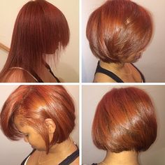 Nice cut and color! Got rid of thin ends with the bob. Her hair is full of body and movement!