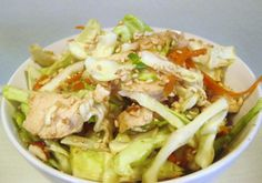 Chinese Chicken Cabbage Salad head cabbage shredded 2 scallions diced 1 carrot julienned 2 cups cooked chicken diced lg sliced almonds dry ramen noodles broken up toasted sesame seeds dressing rice vinegar cup oil sugar soy sauce You might also like: Incredible Recipes, Great Recipes, Favorite Recipes, Asian Recipes, Healthy Recipes, Chinese Recipes, Chicken And Cabbage, Napa Cabbage, Cabbage Salad