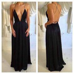 2017 Simple Popular Sexy Black Cheap Backless Long Beach Dresses, WG738