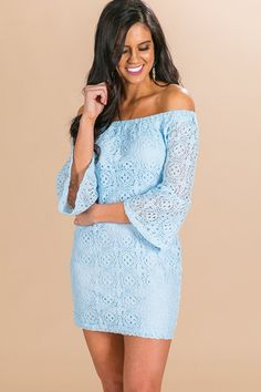 d1e5911b0d3f Lace At First Sight Off Shoulder Dress in Sky Blue- 36. Impressions Online  Boutique