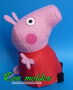 Ideas para el hogar: Peluche Peppa pig con molde de costura