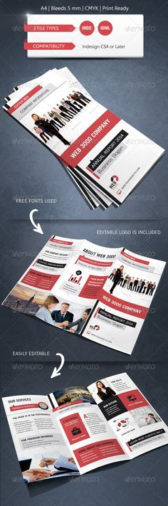 Modern & Corporate Trifold Brochure Template #GraphicRiver This pack contains : 1x INDD file for Indesign CS5. 1x IDML file for Indesign CS4/CS6 1x instructions.txt file for the informations about the free font used and the photos. Photos are not included. Did you liked this item ? I Hope you will like this pack. Don't forget to rate it Free Font used Calibri (System Font): .ascendercorp /font/calibri/?gclid=COHt9L_sm7ICFcQXzQodCU4AnQ Trade Gothic Roman: .fontpalace…