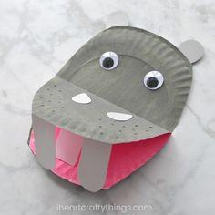 Paper Plate Hippopotamus - I Heart Crafty Things Panda Bear Crafts, Giraffe Crafts, Dinosaur Crafts, Animal Crafts For Kids, Toddler Crafts, Preschool Crafts, Kids Crafts, Preschool Jungle, Preschool Winter