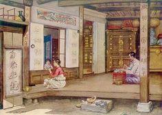 (Korea) Domestic interior by Elizabeth Keith (Scotland, woodblock print. Modern Bedroom Decor, Modern Decor, Woodcut Art, Korean Painting, Korean Art, Korean Food, Korean Traditional, Woodblock Print, Chinese Art