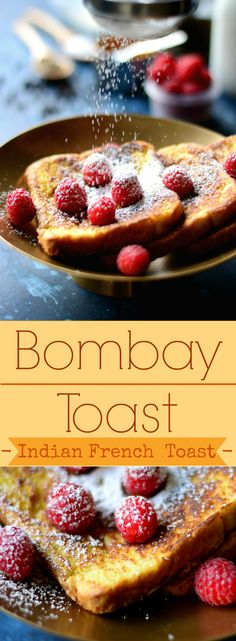 Bombay Toast - This Indian version of French toast features two additional ingredients: Turmeric and Black Pepper - tastes the same, but makes it so much more healthier! Come find out! Delicious Breakfast Recipes, Brunch Recipes, Budget Recipes, Delicious Food, Bread Recipes, Vegan Recipes, Dessert Recipes, Desserts, Brunch Buffet