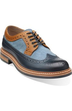 Darby Limit Blue Combi - Men's Oxfords and Lace Up Shoes - Clarks Oxford Shoes Outfit, Leather Dress Shoes, Lace Up Shoes, Leather Boots, Casual Shoes, Men's Shoes, Shoe Boots, 1950 Shoes, Guy Shoes