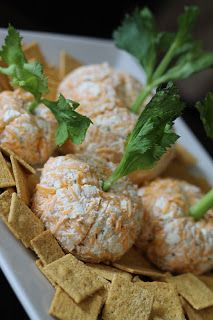 veggie cheese balls, with green onion or kale out the top