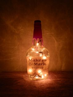 Lighted Bottle Maker's Mark Kentucky Bourbon Whisky Amber