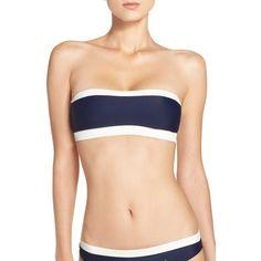 Women's Ted Baker London Bandeau Bikini Top (£57) ❤ liked on Polyvore featuring swimwear, bikinis, bikini tops, navy, navy tankini top, swimsuit tops, navy blue swim top, wrap bikini top and bandeau top bikini