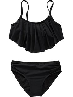Girls Ruffle-Top Bikinis old navy.