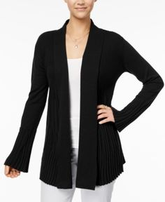 Style & Co Petite Open-Front Cardigan, Created for Macy's - Black P/XL