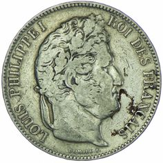 Louis Philippe I. 1830 - 1848 5 Francs 1843 W, Silber